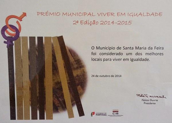 """Santa Maria da Feira - Prémio """"Viver em Igualdade"""""""